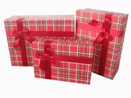 """Набор коробок 3 в 1 """"Строгий"""" Вишневый с бантом / прямоугольник"""