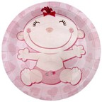 Шар Тарелки бумажные ламинированные С днем Рождения, Малыш розовые