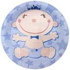 Шар Тарелки бумажные ламинированные С днем Рождения, Малыш голубые