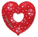 Шар Сердце в сердце Вырубка 36 см