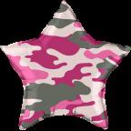 "Шар Р18"" Камуфляж розовый звезда"