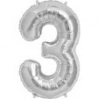 "Шар Цифра ""3"" Серебро в упаковке / Three"