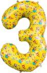 Шар (34''/86 см) Цифра, 3 Три Кота, Желтый