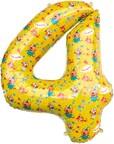 Шар (34''/86 см) Цифра, 4 Три Кота, Желтый