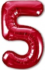 Шар ЦИФРА 5 Slim красный