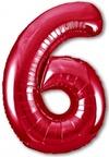 Шар ЦИФРА 6 Slim красный