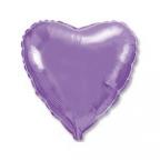 Шар Сердце Металлик Сиреневый / Lilac